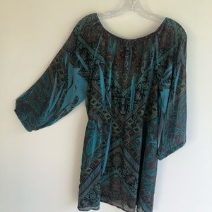 United World Wear 1X Tunic Top Blue Blouse.